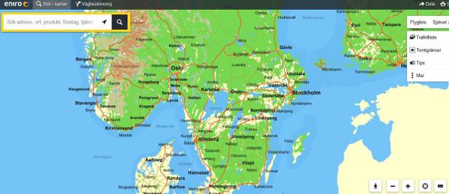 Online-Schwedenkarte von Eniro.se