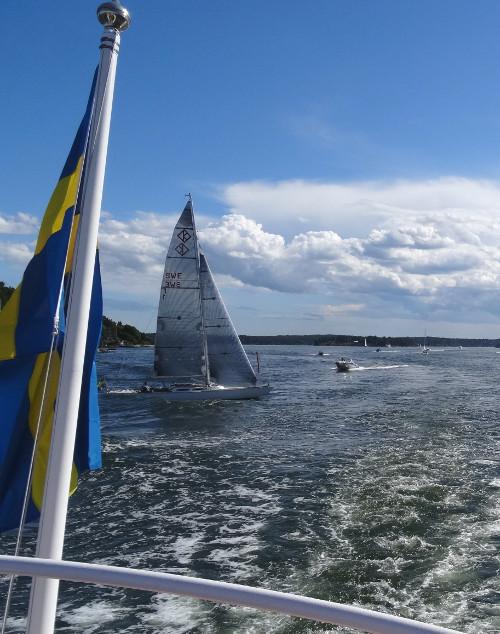 Schwedenflagge auf See
