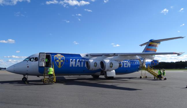 Bild eines schwedischen Nationalmannschaftsflugzeugs