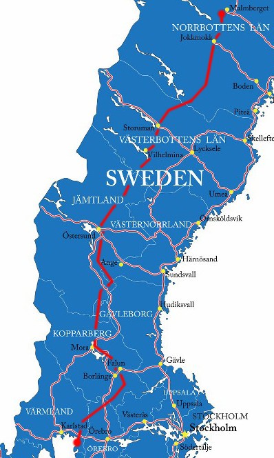 Inlandsbanan Strecke