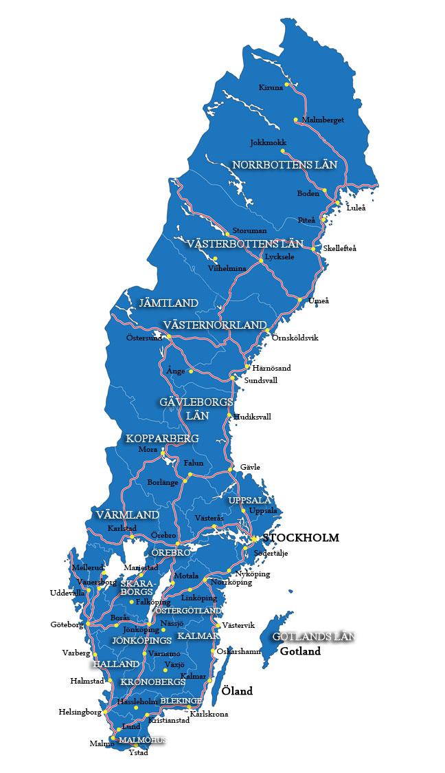 Schwedenkarte mit Regionen